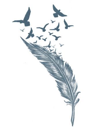 Feather And Birds Temporary Tattoo Tattooednow Ltd