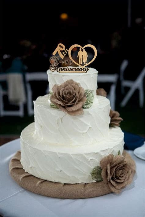 70th Anniversary Cake Topper Personalized, Rustic Wedding