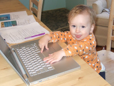 Computer savvy already, just like his momma and daddy