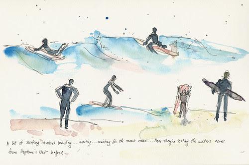 Surfers in Malibu, CA