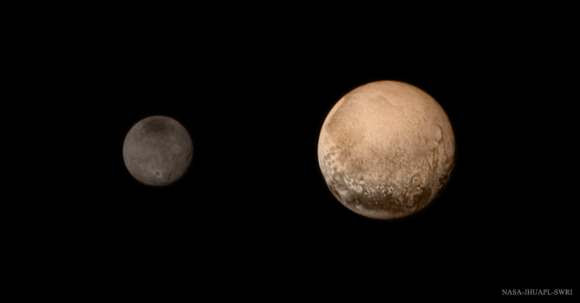 A portrait from the final approach of the New Horizons spacecraft to the Pluto system on July 11, 2015. Pluto and Charon display striking color and brightness contrast in this composite image. Credit: NASA-JHUAPL-SWRI.