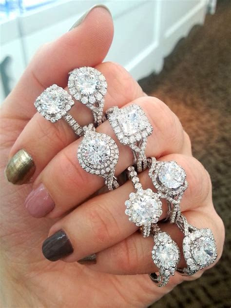 Verragio halo engagement rings! Middle finger, top ring