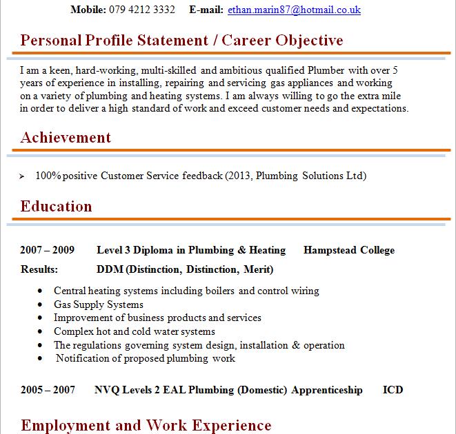 plumber resume sample word  best resume examples