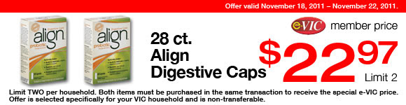 Align Digestive Caps -  28 ct : eVIC Member Price - $22.97 ea - Limit 2