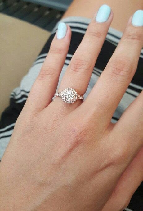 Rose gold, diamond, halo, engagement ring from Brilliant