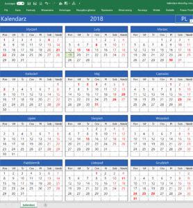 Kalendarz W Excelu Dowolny Rok Różne Języki Skuteczny Office