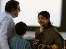 Kanimozhi with her husband aravindan and her Son Adhithyan