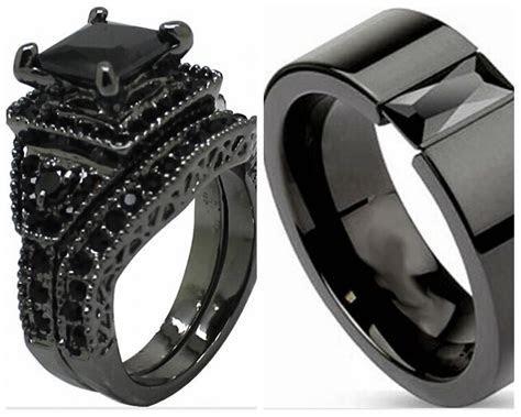 2019 SZ 5 15 Black Wedding Engagement Ring Band Set