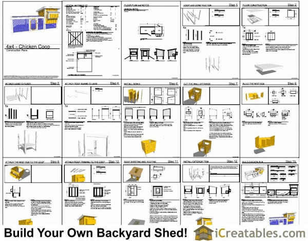 90506L 5/'x6/' Lean-To Chicken Coop Plans Hen House