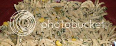 Spaghetti Corn, Green Beans and Spinach Dish