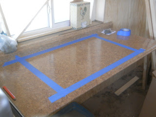 Tape Laid Out for Kitchen Sink
