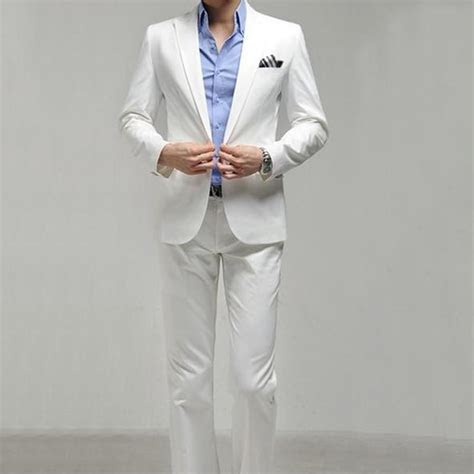 White tuxedo Slim Fit Business Formal Dress Suits White