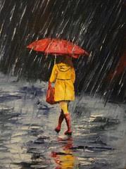 Street_5 (Claudia Mandl) Tags: street red rain painting pluie rue umbrela parapluie