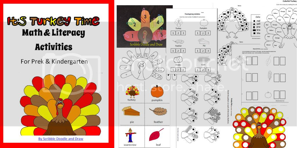 It's turkey time math and literacy activities