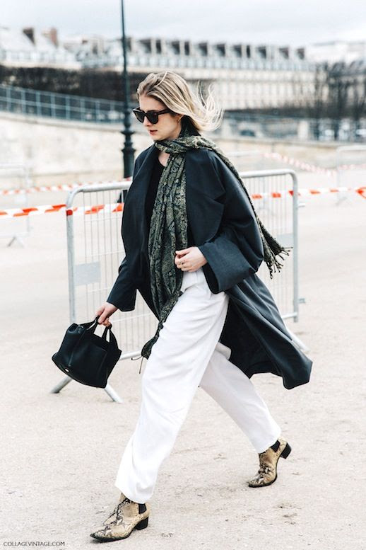 Le Fashion Blog Street Style Pfw Sunglasses Lightweight Oversize Coat Printed Scarf Black Small Tote Bag Slouchy White Pants Python Boots Collage Vintage