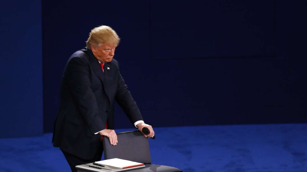 Image result for trump humping stool at debate