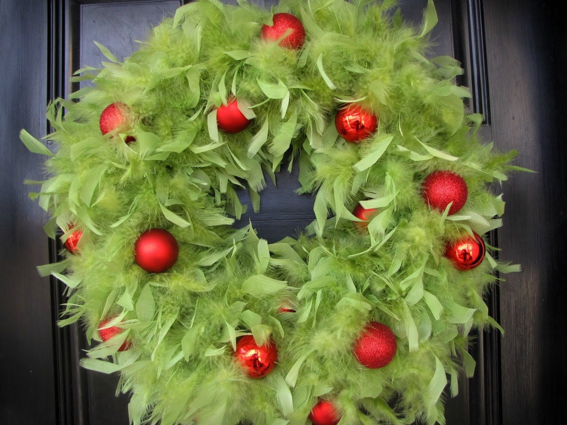 Christmas Wreath - Lime Green Feather Wreath with Red Ornaments - BLACK FRIDAY Deal  Enter coupon code BLACKFRIDAY20 for 20% off Any Wreath