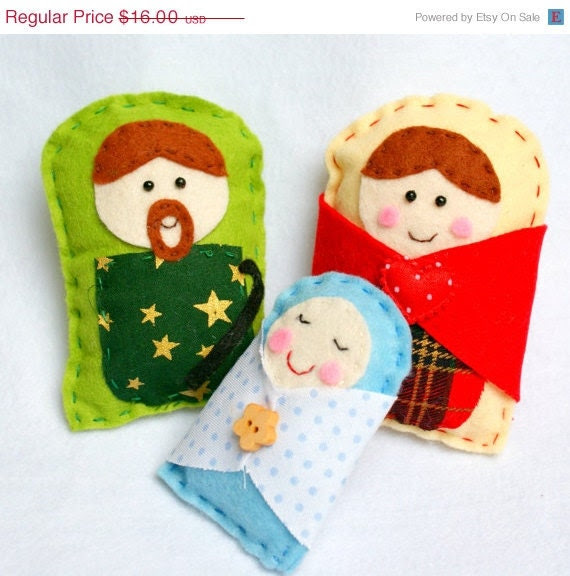 ON SALE - Black Friday - Cyber Monday - Handmade Felt Nativity - Christmas Decor - Ornaments