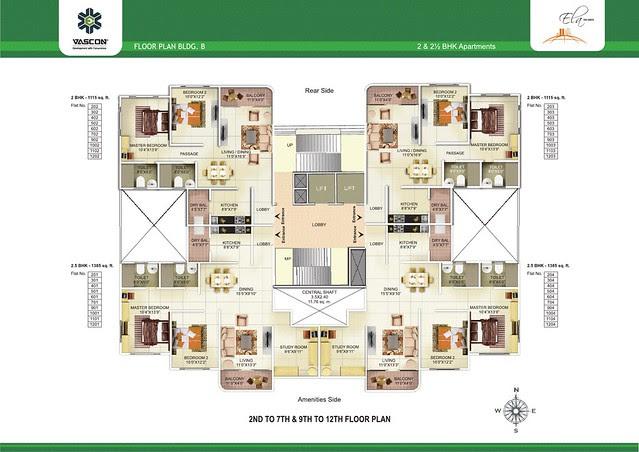 2nd to 7th & 9th to 12th Floor Plan of Vascon Ela - 2 BHK 2.5 BHK Flats opposite Suzlon One Earth at Sade-Satara-Nali (Sade-Satra-Nali) Gram Panchayat, Hadapsar, Pune 411028