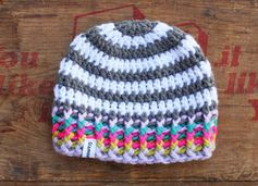 Grey and White Striped Crochet Baby Beanie with Rainbow Rim 6-9 Months in Fitted or Slouchy Style on Etsy, $12.00