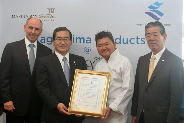 Chef Justin Quek receiving his Certification of Recommendation from Kagoshima Governor Yuichiro Ito