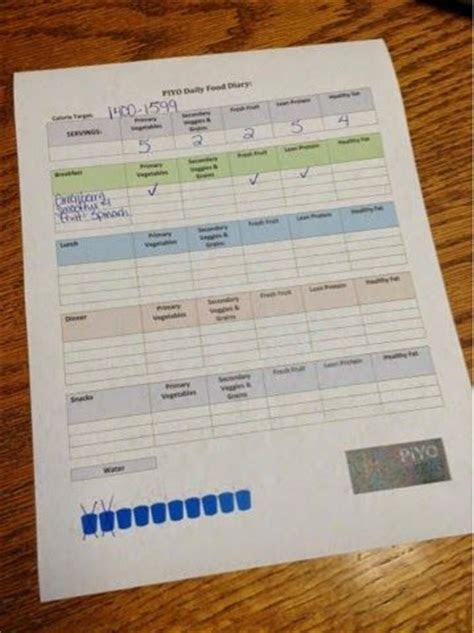 printable piyo food diary   day nutrition plan