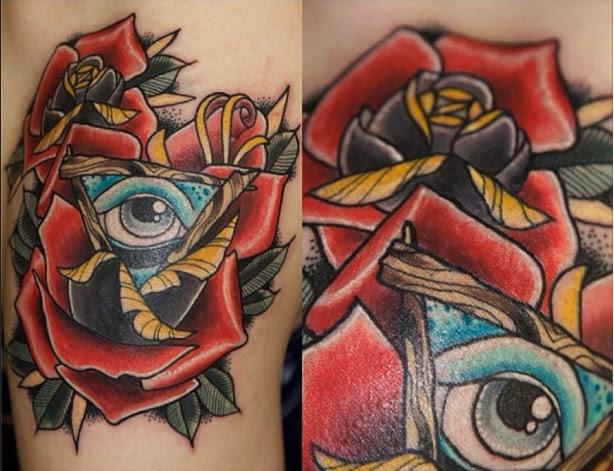 Rose Triangle Eye Old School Tattoo By Last Angels Tattoo Best