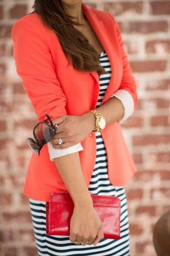 Coral blazer with stripes