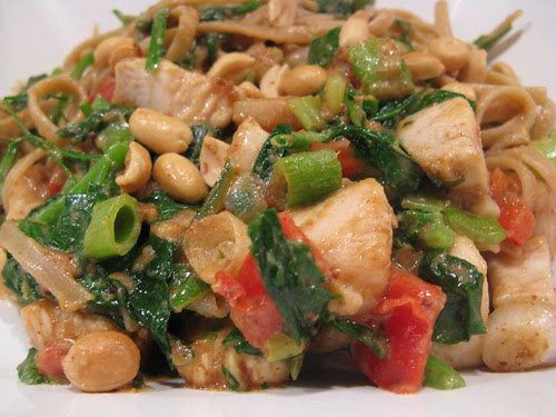 Chicken & Spring Green Stir-fry in Coconut Peanut Sauce