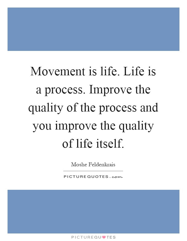 Movement Is Life Life Is A Process Improve The Quality Of The