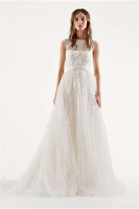White by Vera Wang V Neck Wedding Dress with Bow   David's
