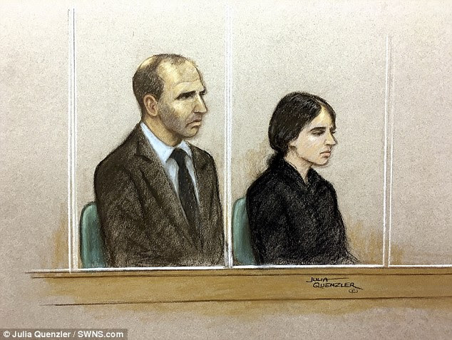 A court sketch of Ouissem Medouni (left) and Sabrina Kouider (right) at the Old Bailey today