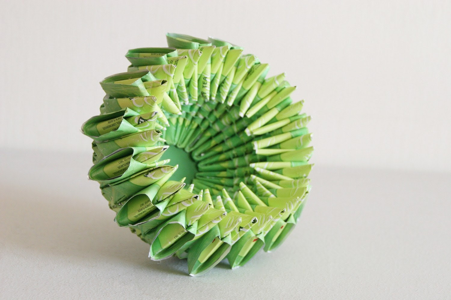 Green Sun Bowl - made out of folded tea bags wraps