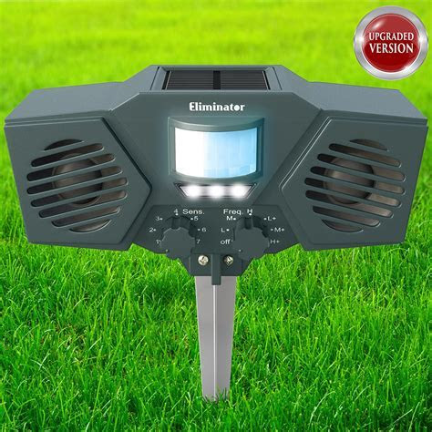 Eliminator Advanced Electronic Solar Energy Outdoor Animal and Rodent Pest Repeller for Cats