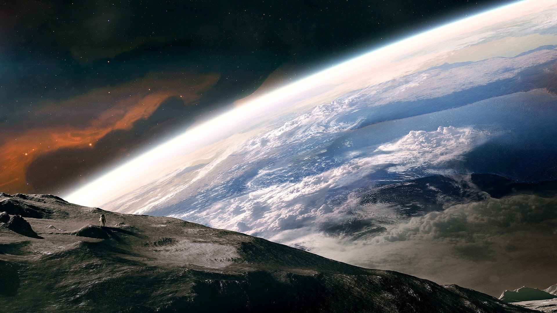 View Earth From Space Hd Wallpaper Wallpaperfx 1920x1080