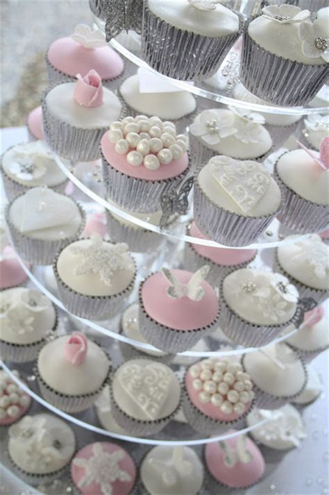 8 Red And Silver Bridal Shower Cupcakes Photo   Winter