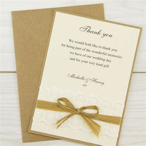 Rustic Lace Thank you Card   Pure Invitation Wedding Invites