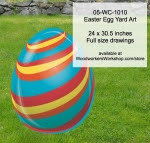 Easter Egg Yard Art Woodworking Pattern - fee plans from WoodworkersWorkshop® Online Store - stripes,easter eggs,yard art,painting wood crafts,scrollsawing patterns,drawings,plywood,plywoodworking plans,woodworkers projects,workshop blueprints