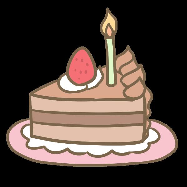 バースデーケーキカットチョコケーキのイラスト かわいいフリー