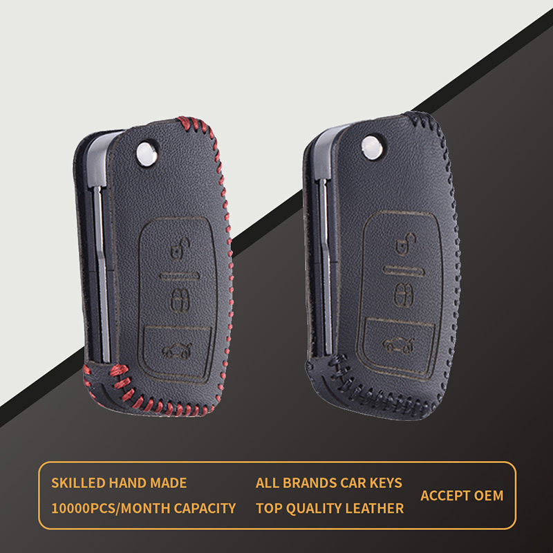 Genuine Leather Key Cover Remote Case Wallets For Ford Focus