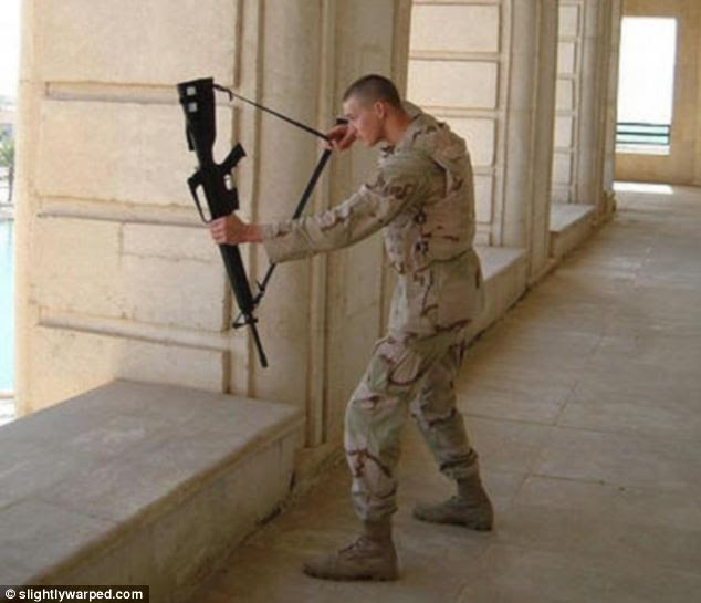 Bow and arrow: This soldier uses his gun in a slightly less conventional way