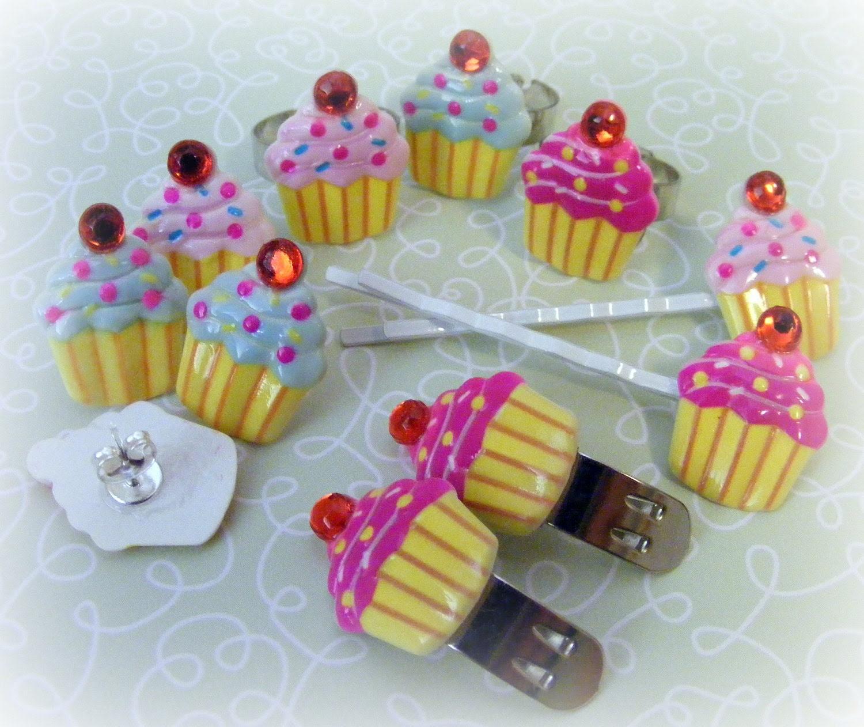 Cupcake Earrings, Rings, Bobby Pins, Shoe Clips