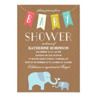Elephant Baby | Baby Shower 5x7 Paper Invitation Card
