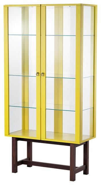 Stockholm Glass Door Cabinet, Yellow - contemporary - storage ...