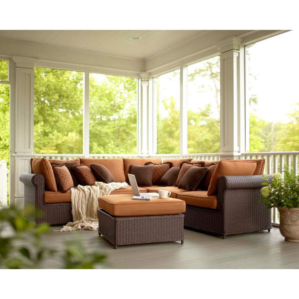 Hampton Bay Cibola 6-Piece Patio Sectional Seating Set ...
