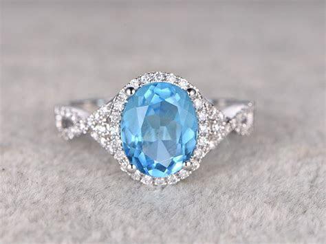 3.68ctw Oval Sky Blue Topaz Engagement ring,VS Diamond