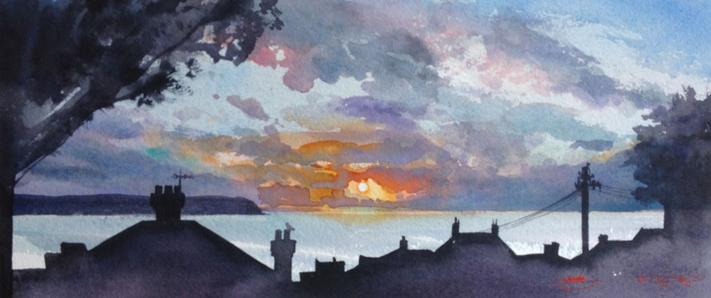 Coming Back Along. Woolacombe winter watercolour painting from the Steve PP art gallery.