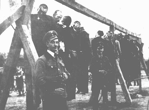 The execution by hanging of Serbs and Jews in the Banat region. Yugoslavia, September 17, 1941.