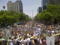 Los participantes marcharon por Paseo de la Reforma. Foto: Eduardo Miranda.