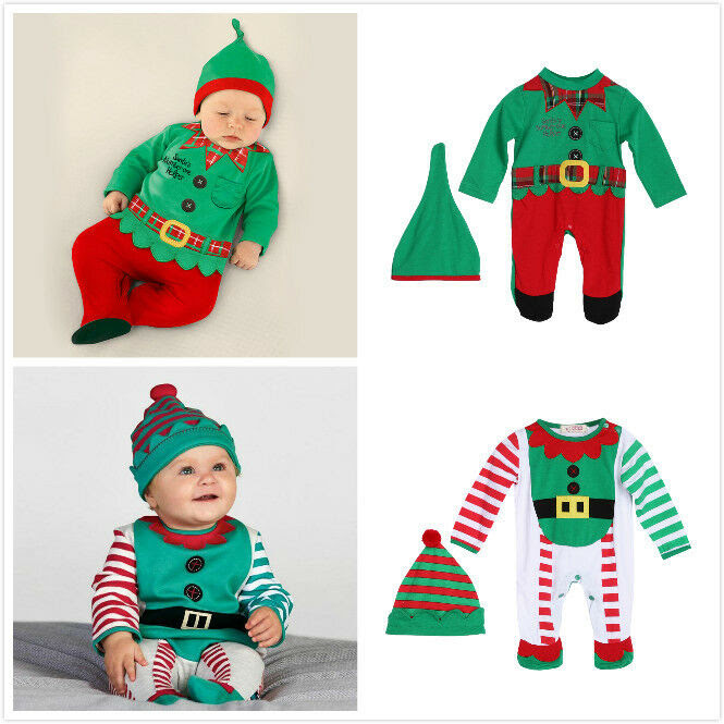 Christmas Clothes Outfits Baby Boy Girl Kids Romper Hat Cap Set Infant Gift 02Y  eBay